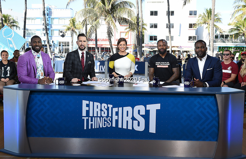 """MIAMI BEACH, FL - JANUARY 29: (L-R) Greg Jennings, Nick Wright, Jenna Wolfe, Jarvis Landry, and Michael Vick on the set of """"First Things First"""" on the Fox Sports South Beach studio during Super Bowl LIV week on January 29, 2020 in Miami Beach, Florida. (Photo by Frank Micelotta/Fox Sports/PictureGroup)"""