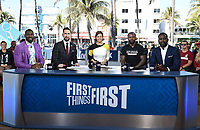 "MIAMI BEACH, FL - JANUARY 29: (L-R) Greg Jennings, Nick Wright, Jenna Wolfe, Jarvis Landry, and Michael Vick on the set of ""First Things First"" on the Fox Sports South Beach studio during Super Bowl LIV week on January 29, 2020 in Miami Beach, Florida. (Photo by Frank Micelotta/Fox Sports/PictureGroup)"