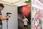 VIsitors record their good luck messages at the video booth in the Sevens Village during HSBC Hong Kong Rugby Sevens 2016 on 07 April 2016 at Hong Kong Stadium in Hong Kong, China. Photo by Kitmin Lee / Power Sport Images