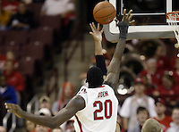 2 December 2006: Ohio State's Greg Oden blocks another shot during the game against Valparaiso at Value City Arena in Columbus, Ohio. Oden was the nation's top high school player for the past two years and made his college debut tonight after sitting out with a wrist injury.<br />