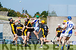 Jack Lenihan and Mike Milner Dr. Crokes in action against Luke Barrett, Tralee Parnells during the Kerry County Intermediate Hurling Championship Final match between Dr Crokes and Tralee Parnell's at Austin Stack Park in Tralee