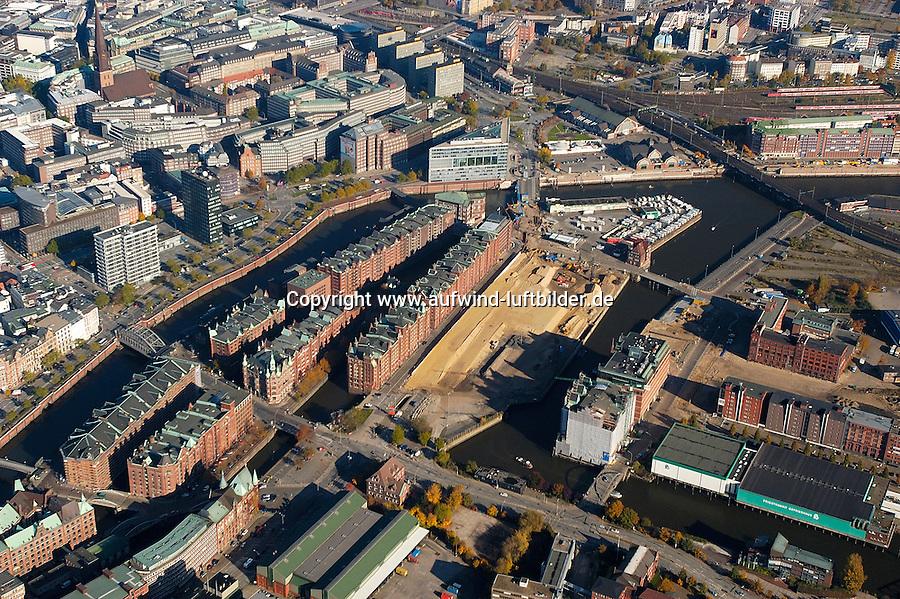 Hafencity:DEUTSCHLAND, HAMBURG, BERDEDORF 30.10.2005:Hafencity, Speicherstadt, Oberbaum, Ericusspitze, Brooktorkai, Lohseplatz, Stockmeyerstrasse, Magdeburgerstrasse