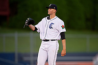 Connecticut Tigers starting pitcher Adam Wolf (43) waits to receive the ball back from the catcher during a game against the Hudson Valley Renegades on August 20, 2018 at Dodd Stadium in Norwich, Connecticut.  Hudson Valley defeated Connecticut 3-1.  (Mike Janes/Four Seam Images)