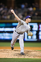 Louisville Bats relief pitcher Drew Hayes (24) in action against the Charlotte Knights at BB&T BallPark on May 12, 2015 in Charlotte, North Carolina.  The Knights defeated the Bats 4-0.  (Brian Westerholt/Four Seam Images)