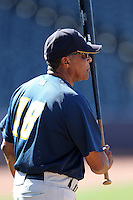 Trenton Thunder manager Tony Franklin #18 before a game against the Akron Aeros at Canal Park on July 26, 2011 in Akron, Ohio.  Trenton defeated Akron 4-3.  (Mike Janes/Four Seam Images)
