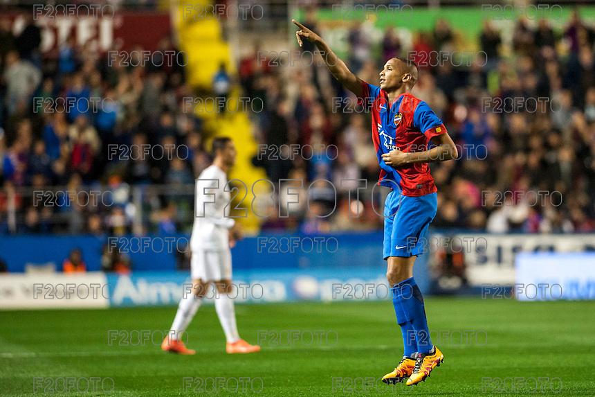 VALENCIA, SPAIN - MARCH 2: Deyverson celebrating his goal during BBVA League match between VLevante U.D. and R. Madrid at Ciudad de Valencia Stadium on March 2, 2015 in Valencia, Spain