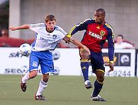 John Cunliffe and Jamison Olave in the 0-0 draw at Rice Eccles Stadium in Salt Lake City, Utah on June 18, 2008.