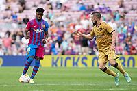 26th September 2021;   Nou Camp, Barcelona, Spain: La Liga football, FC Barcelona versus Levante: Ansu Fati Barcelona lines up his shot for his goal in 91st minute