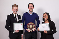 Winner of the Kevin De Silva Essay Prize is Thomas Goodman a student from Nottingham University, pictured with runner up Jack Harvey, student of Nottingham Trent University and 3rd place Nadine Maher of Eversheds