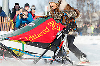 Jeff King and Iditarider round the Cordova Street turn during the 2019 ceremonial start of the Iditarod in downtown Anchorage, Alaska on Saturday March 2.<br /> <br /> Photo by Jeff Schultz/  (C) 2019  ALL RIGHTS RESERVED