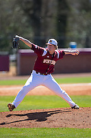 Winthrop Eagles starting pitcher Matt Crohan (32) in action against the Kennesaw State Owls at the Winthrop Ballpark on March 15, 2015 in Rock Hill, South Carolina.  The Eagles defeated the Owls 11-4.  (Brian Westerholt/Four Seam Images)