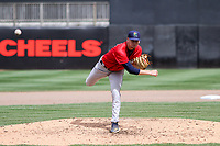 Cedar Rapids Kernels starting pitcher Cody Laweryson (20) throws a pitch during a game against the Wisconsin Timber Rattlers on September 8, 2021 at Neuroscience Group Field at Fox Cities Stadium in Grand Chute, Wisconsin.  (Brad Krause/Four Seam Images)