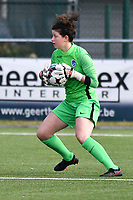 goalkeeper Maren van Wijngaarden (50) of KRC Genk pictured during a female soccer game between  Racing Genk Ladies and SV Zulte-Waregem on the 7 th matchday of play off 2 in the 2020 - 2021 season of Belgian Scooore Womens Super League , friday 14 th of May 2021  in Genk , Belgium . PHOTO SPORTPIX.BE   SPP   JILL DELSAUX