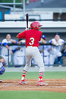 Anthony Ray (3) of the Johnson City Cardinals at bat against the Burlington Royals at Burlington Athletic Park on July 14, 2014 in Burlington, North Carolina.  The Cardinals defeated the Royals 9-4.  (Brian Westerholt/Four Seam Images)