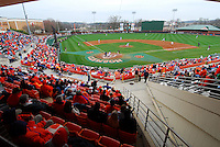 Fans watch a game between the Mercer Bears and Clemson Tigers at Doug Kingsmore Stadium on Feb 24, 2008, in Clemson, S.C.  Photo by:  Tom Priddy/Four Seam Images