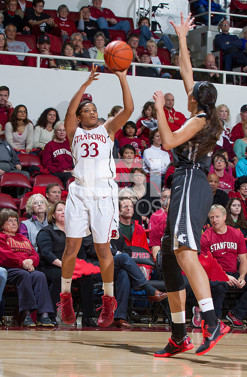 Stanford's Amber Orrange, attempts to make a basket during Stanford women's basketball  vs Washington State at Maples Pavilion, Stanford, California on March 1, 2014.