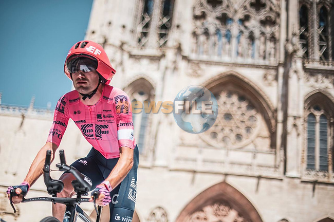 EF Education-Nippo riders recon Stage 1 of La Vuelta d'Espana 2021, a 7.1km individual time trial around Burgos, Spain. 14th August 2021. <br /> Picture: Unipublic/Charly Lopez   Cyclefile<br /> <br /> All photos usage must carry mandatory copyright credit (© Cyclefile   Unipublic/Charly Lopez)