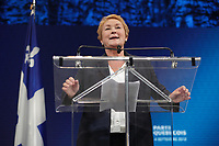 September 4, 2012 - Montreal (Qc) CANADA -  Parti Quebecois (PQ) leader Pauline Marois win the provincial election and become the first woman elected as Quebec Premier.<br /> <br /> Her speech was interrupted by her bodyguard grabbing her offstage when a man entered the building shooting 2 person (one died so far) and thorwing a Molotov cocktail outside.