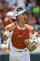 Texas Longhorns catcher Tres Barrera (1) celebrates during the NCAA Super Regional baseball game against the Houston Cougars on June 7, 2014 at UFCU Disch–Falk Field in Austin, Texas. The Longhorns are headed to the College World Series after they defeated the Cougars 4-0 in Game 2 of the NCAA Super Regional. (Andrew Woolley/Four Seam Images)