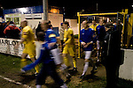 Cammell Laird 1 Witton Albion 2, 12/12/2008. Kirklands, Unibond League premier division. The players of Cammell Laird FC and Witton Albion taking the field before their Unibond League premier division at Kirklands, Birkenhead. The visitors won by 2 goals to 1 on front of a crowd of just 136. Formed in 1907, Lairds joined the English pyramid in 2004 and gained three promotions in five years, but financial problems forced the club to revert to amateur status in December 2008. Photo by Colin McPherson