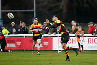 Louis Molloy of Richmond Rugby passes the ball during the English National League match between Richmond and Blackheath  at Richmond Athletic Ground, Richmond, United Kingdom on 4 January 2020. Photo by Carlton Myrie.