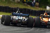 #10: Felix Rosenqvist, Chip Ganassi Racing Honda, #5: Pato O'Ward, Arrow McLaren SP Chevrolet, lead pass