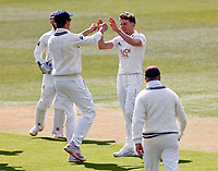 Matt Milnes (R) of Kent is congratulated after taking the wicket of Steven Patterson during Kent CCC vs Yorkshire CCC, LV Insurance County Championship Group 3 Cricket at The Spitfire Ground on 16th April 2021
