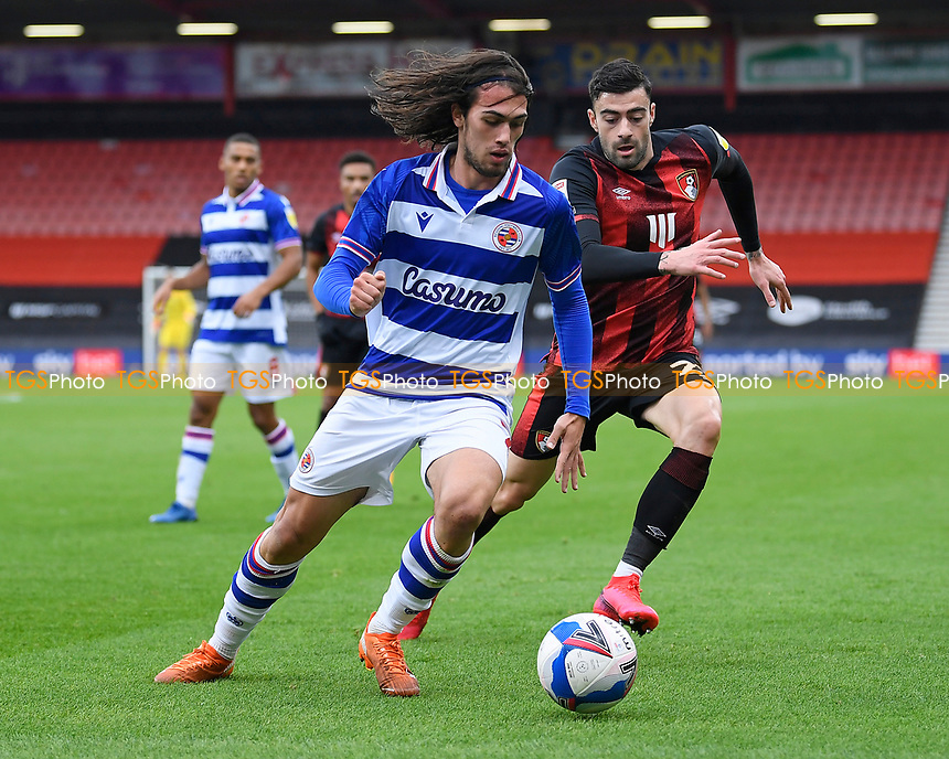 Tomas Esteves of Reading left holds off  Diego Rico of AFC Bournemouth during AFC Bournemouth vs Reading, Sky Bet EFL Championship Football at the Vitality Stadium on 21st November 2020
