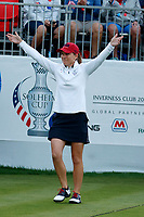 5th September 2021; Toledo, Ohio, USA;  Austin Ernst of Team USA urges fans to get loud at the first tee during the morning Four-Ball competition during the Solheim Cup on September 5th
