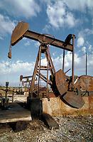 Petroleum Industry; oil; production; well; pumpjack;. Baytown Texas.