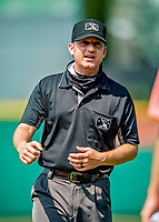 6 June 2021: Umpire Ben Phillips works first base during a game between the Binghamton Rumble Ponies and the New Hampshire Fisher Cats at Northeast Delta Dental Stadium in Manchester, NH. The Rumble Ponies defeated the Fisher Cats 9-6 to close out their 6-game series. Mandatory Credit: Ed Wolfstein Photo *** RAW (NEF) Image File Available ***