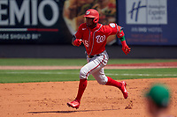 Washington Nationals Victor Robles (16) running the bases during a Major League Spring Training game against the New York Mets on March 18, 2021 at Clover Park in St. Lucie, Florida.  (Mike Janes/Four Seam Images)