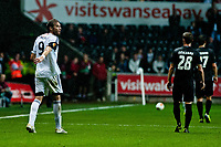 Thursday  03 October  2013  Pictured:Michu of Swansea looks on with blood on his shirt<br /> Re:UEFA Europa League, Swansea City FC vs FC St.Gallen,  at the Liberty Staduim Swansea