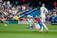 LEICESTER, ENGLAND - APRIL 18: Jack Cork of Swansea City  in action during the Premier League match between Leicester City and Swansea City at The King Power Stadium on April 18, 2015 in Leicester, England.  (Photo by Athena Pictures/Getty Images)