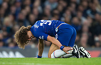 David LUIZ of Chelsea holds his ankle during the Premier League match between Chelsea and Crystal Palace at Stamford Bridge, London, England on 4 November 2018. Photo by Andy Rowland.<br /> .<br /> (Photograph May Only Be Used For Newspaper And/Or Magazine Editorial Purposes. www.football-dataco.com)