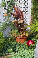 Gazing Ball, Container Pot with canna, Calibrachoa, daylily Hemerocallis fulva in orange and red tones near fecne, aspargus fern, pachysandra