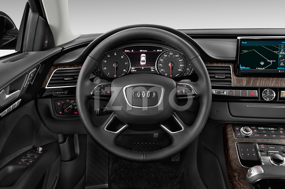Car pictures of steering wheel view of a 2015 Audi A8 4.0T NWB quattro Tiptronic 5 Door Sedan