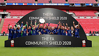 29th August 2020; Wembley Stadium, London, England; Community Shield Womens Final, Chelsea versus Manchester City; The Chelsea Women celebrate with the Community Shield after their 2-0 win