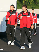 Wednesday 28 August 2013<br /> Pictured L-R: Scout Erik Larsen and manager Michael Laudrup at the Swansea training ground.<br /> Re: Swansea City FC players and staff en route for their UEFA Europa League, play off round, 2nd leg, against Petrolul Ploiesti in Romania.