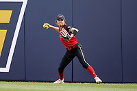 GREENSBORO, NC - MARCH 11: Amberly Rodriguez #9 of Northern Illinois University throws the ball during a game between Northern Illinois and UNC Greensboro at UNCG Softball Stadium on March 11, 2020 in Greensboro, North Carolina.