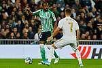 Eden Hazard of Real Madrid and Sidnei Rechel da Silva  of Real Betis Balompie during La Liga match between Real Madrid and Real Betis Balompie at Santiago Bernabeu Stadium in Madrid, Spain. November 02, 2019. (ALTERPHOTOS/A. Perez Meca)