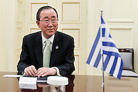 Pictured: Ban Ki-Moon at Megaro Maximou in Athens, Greece. Saturday 18 June 2016<br /> Re: The United Nations secretary-general is visiting Greece, ahead of talks with government officials and a trip to the island of Lesbos, which is at the forefront of Greece's immigration crisis.<br /> Ban Ki-moon met with officials and volunteers at the Solidarity Now group, which helps victims of Greece's financial crisis and migrants stuck in the country.<br /> He has also visited Greek President Procopis Pavlopoulos before travelling camps on Lesbos island where 3,400 refugees and other migrants live.