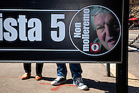 """Switzerland. Canton Ticino. Lugano. Election day. Election poster of the """" Lega dei Ticinesi"""". Portrait of Giuliano Bignasca (born 10 avril 1945 - dead 7 march 2013) who was the founder and President for Life of Lega dei Ticinesi (League of Ticino). 14.04.13. © 2013 Didier Ruef"""