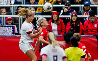 CARSON, CA - FEBRUARY 9: Lindsey Horan #9 of the United States battles with Sophie Schmidt #13 of Canada during a game between Canada and USWNT at Dignity Health Sports Park on February 9, 2020 in Carson, California.