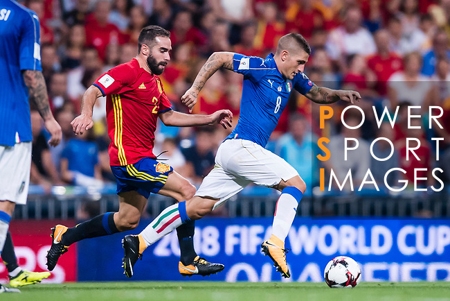 Marco Verratti (R) of Italy fights for the ball with Daniel Carvajal (L) of Spain during their 2018 FIFA World Cup Russia Final Qualification Round 1 Group G match between Spain and Italy on 02 September 2017, at Santiago Bernabeu Stadium, in Madrid, Spain. Photo by Diego Gonzalez / Power Sport Images