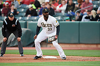 Chris Carter (33) of the Salt Lake Bees on defense during the game against the Albuquerque Isotopes at Smith's Ballpark on April 5, 2018 in Salt Lake City, Utah. Salt Lake defeated Albuquerque 9-3. (Stephen Smith/Four Seam Images)