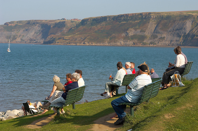 Runswick Bay - North Yorkshire - England people on seats