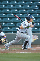 Mitch Longo (10) of the Lynchburg Hillcats follows through on his swing against the Winston-Salem Dash at BB&T Ballpark on May 3, 2018 in Winston-Salem, North Carolina. The Dash defeated the Hillcats 5-3. (Brian Westerholt/Four Seam Images)