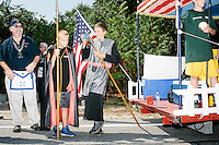People in a Masonic float prepare to take part  in the Labor Day parade in Milford, New Hampshire. Republican candidates John Kasich, Carly Fiorina, and Lindsey Graham, and Democratic candidate Bernie Sanders marched in the parade.