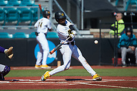 Marcerio Allen (24) of the Kennesaw State Owls at bat against the Western Carolina Catamounts at Springs Brooks Stadium on February 22, 2020 in Conway, South Carolina. The Owls defeated the Catamounts 12-0.  (Brian Westerholt/Four Seam Images)